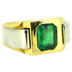 Retro French Emerald Yellow Gold Platinum Bold Tank Cocktail Ring