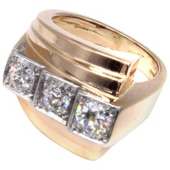 Retro French Platinum 18 Karat Gold Old European Cut Diamond Ring