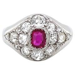 Retro French Ruby Diamond Platinum Ring