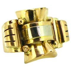 Retro French Yellow and White Gold Tank Bold Ring