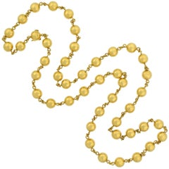 Retro French Yellow Gold Bead Necklace