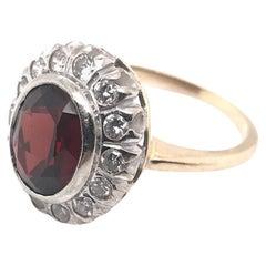 Retro Garnet & Diamond Cocktail Ring 14K