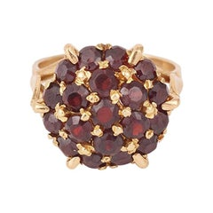 Retro Garnets Pave 18 Carats Yellow Cocktail Gold Ring