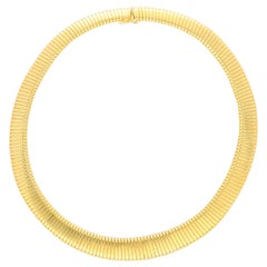 Retro Gas Pipe Collar Necklace Set in 18k Yellow Gold