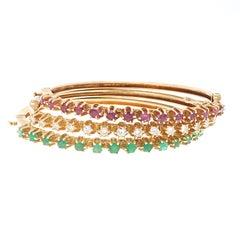 Retro Gemstone Bangle Bracelet Set