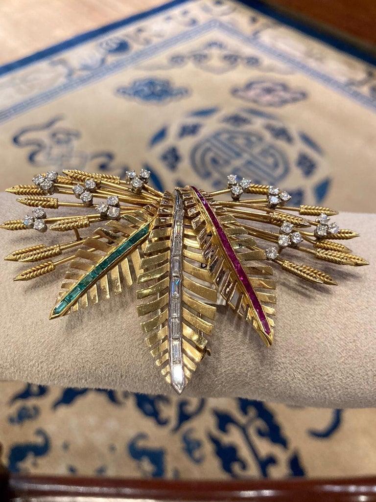 Retro Gemstone Wheat Foliate Clip Brooch In Good Condition For Sale In New York, NY