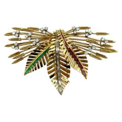 Retro Gemstone Wheat Foliate Clip Brooch