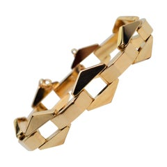 Retro Geometric Link Yellow Gold Bracelet
