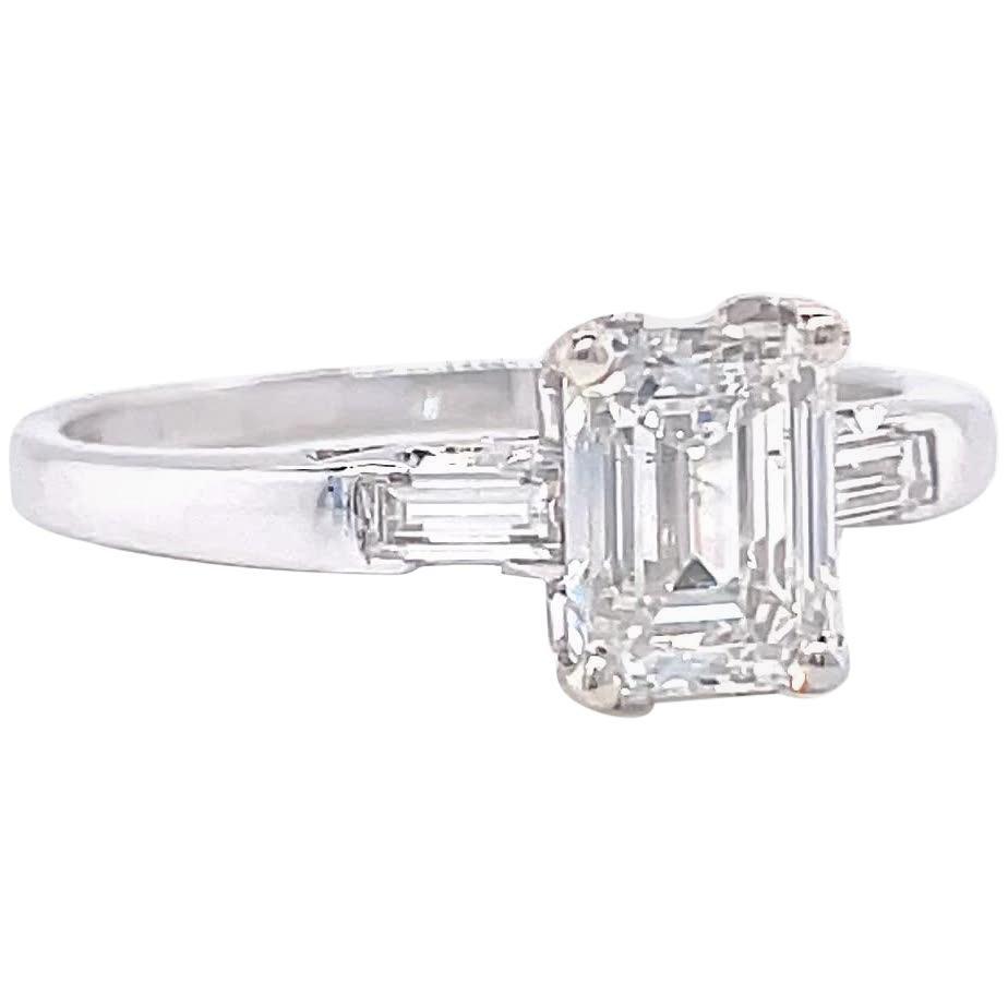 Retro GIA 1.00 Carat Emerald Cut Diamond Platinum Engagement Ring