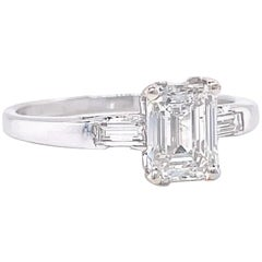 Retro GIA 1.00 Carat Emerald Cut Diamond Platinum Engagement Ring