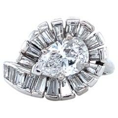 Retro GIA 1.58 Carat D Color Pear Shape Diamond Platinum Cluster Ring