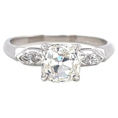 Retro GIA 1.58 Carat Old Mine Cut Diamond Platinum Engagement Ring