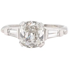 GIA 1.67 Carat Antique Cushion Cut Diamond Iridium Ring