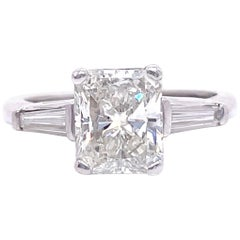 Retro GIA 1.80 Carat Radiant Cut Diamond Platinum Engagement Ring