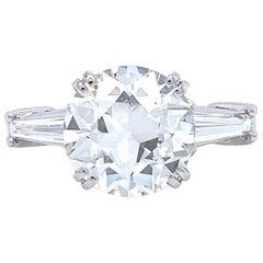 Retro GIA 3.07 Carat Old European Cut Diamond Platinum Engagement Ring