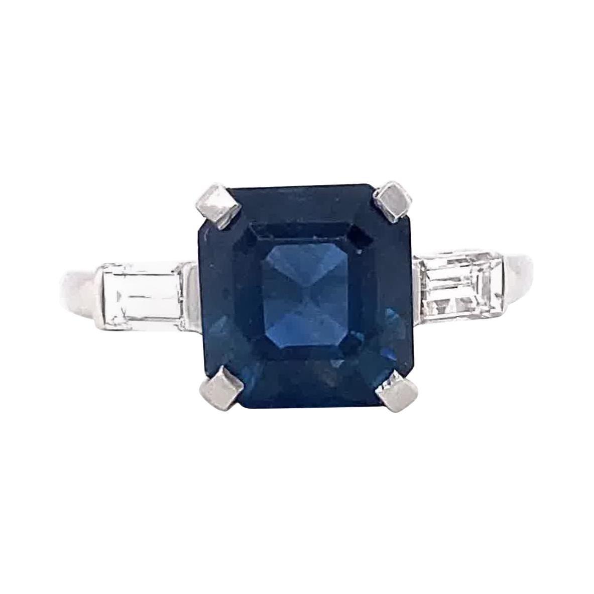 Retro GIA 3.34 Carat No Heat Sapphire Diamond Platinum Ring