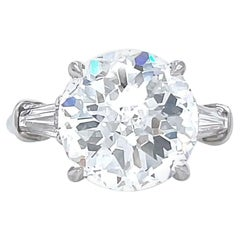 Retro GIA 4.04 Round Novelty Cut Diamond Platinum Engagement Ring