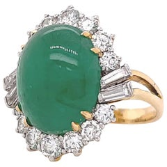 Retro GIA Cabochon Emerald Diamond 18 Karat Gold Cluster Ring