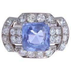 Retro GIA Certified No Heat Ceylon Sapphire Diamond Platinum Ring