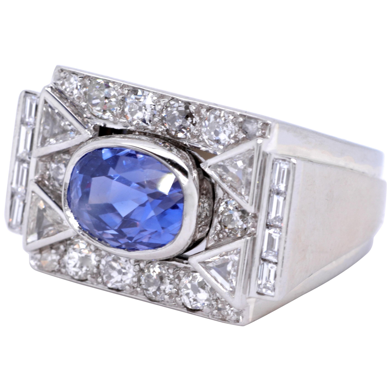 Retro GIA Ceylon No Heat Sapphire Diamond Platinum Ring