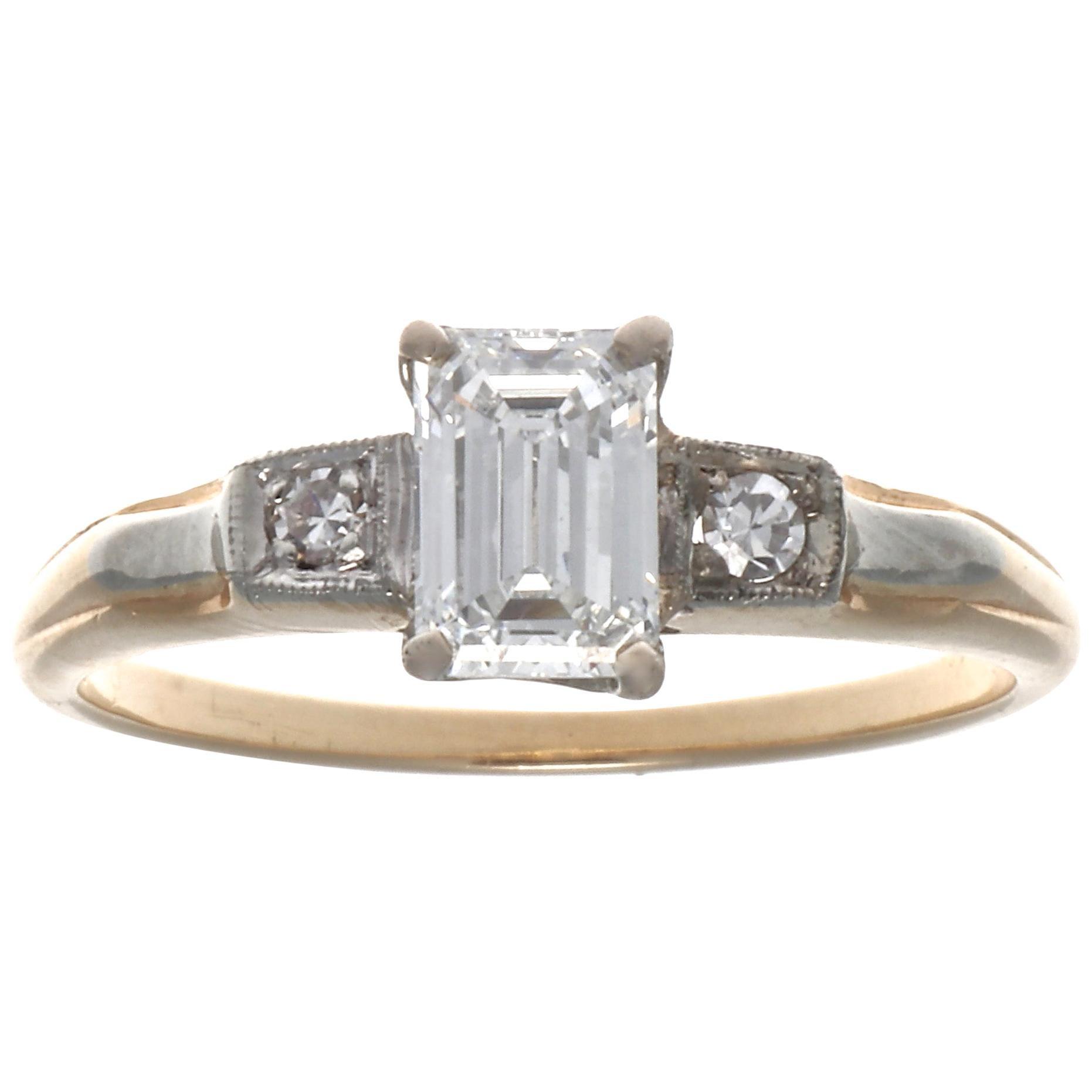 Retro GIA Emerald Cut Diamond Gold Engagement Ring