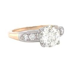 Retro GIA Old European Cut 1.26 Carat Diamond 18 Karat Gold Engagement Ring