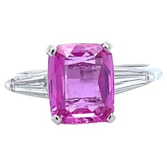 Retro GIA Sapphire Diamond Platinum Ring