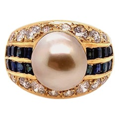 Retro Gold 2.50 Carat Natural Diamond Sapphire & Pearl Cocktail Ring, circa 1950