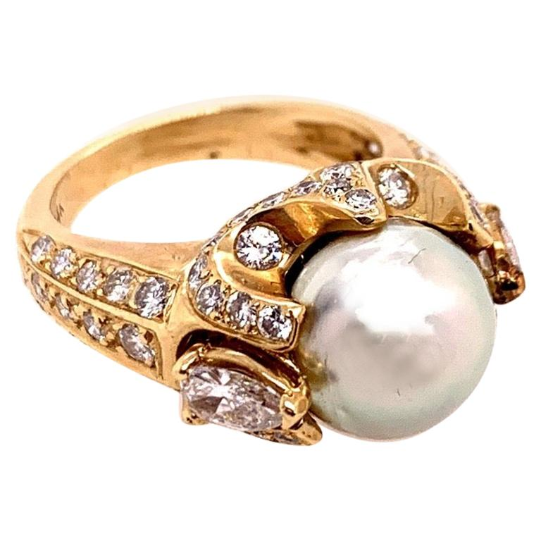 Retro Gold 3 Carat Cocktail Ring Natural Diamonds and Pearl Gem, circa 1960