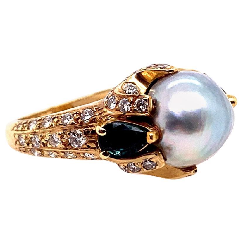 Retro Gold 3 Carat Cocktail Ring Natural Diamonds Sapphire and Pearl, circa 1960
