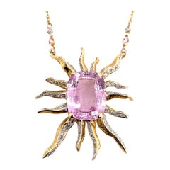 Retro Gold 30 Carat Starburst Pendant Natural Diamond & Kunzite Gem Stone, 1960