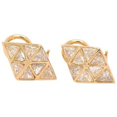 Retro Gold 3.25 Carat Natural Trillion Diamond Earrings, circa 1980