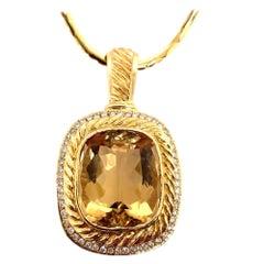 Retro Gold 50 Carat Pendant Natural Diamond and Cushion Citrine Quartz Gem Stone