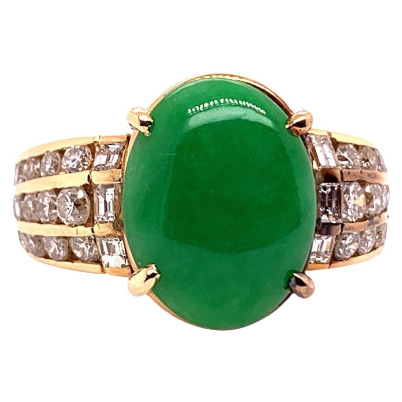 """GIA Certified 3.47 Carat Natural Jadeite """"A"""" Jade & Diamond Gold Ring Circa 1950"""