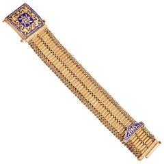 Retro Gold and Blue Enamel Buckle Bracelet