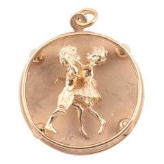 Retro Gold and Diamond Ballroom Dancers Charm Pendant