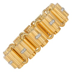 Retro Gold and Diamond Tank Bracelet with Domed Links