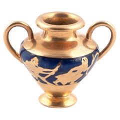 Retro Gold and Enamel Archaeological Vase Charm Pendant