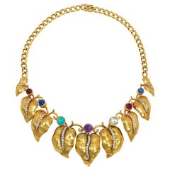 Retro Gold and Multi-Gemstone Necklace of Graduating Diamond-Set Vine Leaves