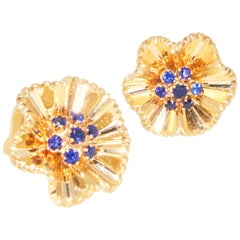 Retro Gold and Sapphire Earrings