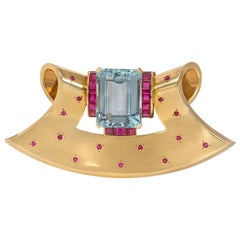 Retro Gold, Aquamarine, and Ruby Fan-Shaped Clip Brooch