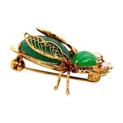 Retro Gold Beetle Natural Transparent Green Jade & Pearl Brooche circa 1950 Pin