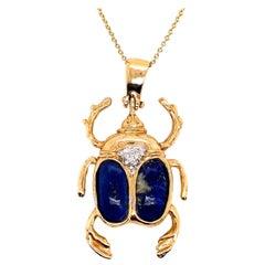 Retro Gold Beetle Pendant Natural Lapis Lazuli and 0.25 Carat Diamond Necklace