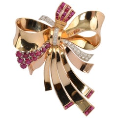 Retro Gold Bow Brooch with Rubies and Diamonds