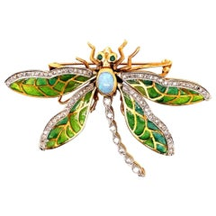 Retro Gold Butterfly 2.35 Carat Natural Diamond, Gem Opal & Enamel Brooche, 1960