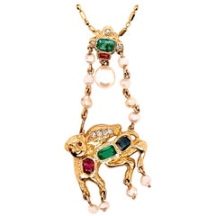 Retro Gold Camel Pendant 1.75 Carat Natural Diamond Ruby Emerald, Sapphire, 1960