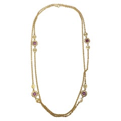 Retro Gold Chain Long Rope Necklace with Amethyst Crystals, Victorian-Style
