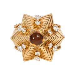 Retro Gold, Citrine, and Diamond Sculptural Star Form Ring
