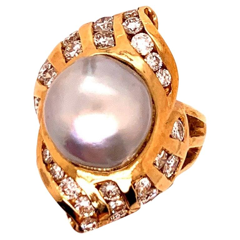 Retro Gold Cocktail Ring 1.38 Carat Natural Colorless Diamond and Pearl 1950