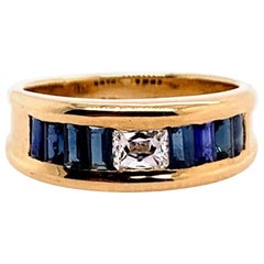 Retro Gold Cocktail Ring 1.4 Carat Natural Radiant Diamond and Sapphire Gem 1950